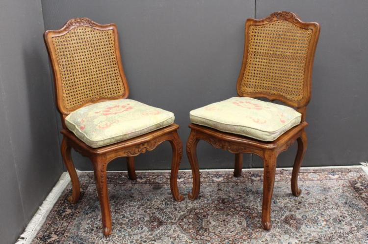(2) ANTIQUE CANED CHAIRS