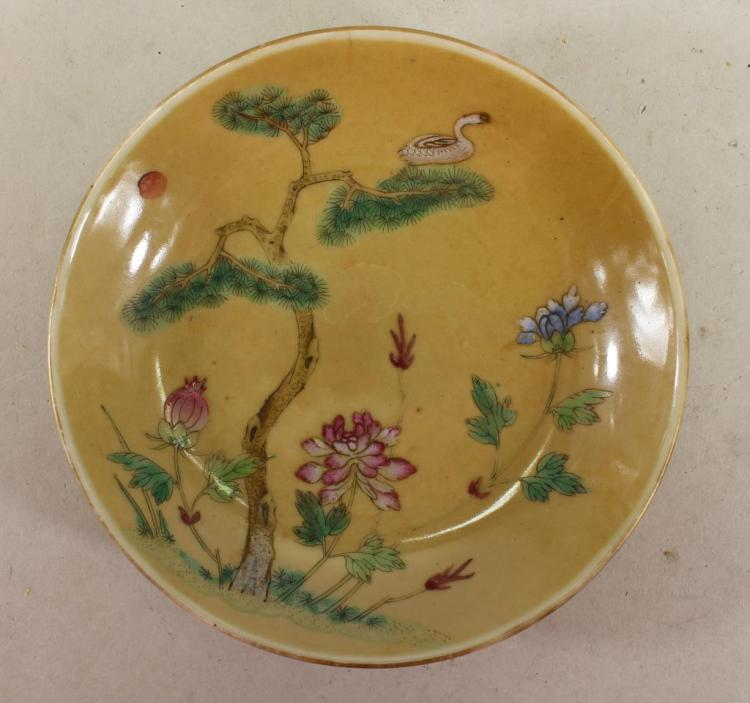 ANTIQUE CHINESE PORCELAIN DISH, SIGNED