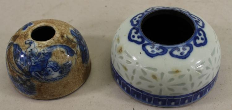 (2) ANTIQUE CHINESE PORCELAIN INKWELLS, ONE SIGNED