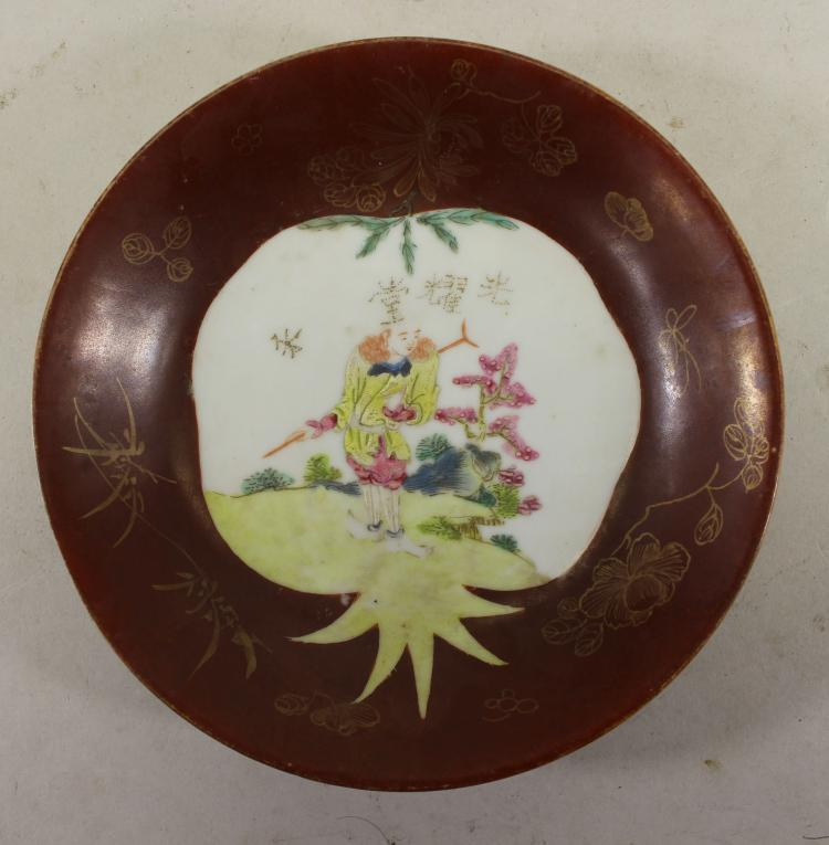SIGNED, ANTIQUE CHINESE FIGURAL PORCELAIN DISH