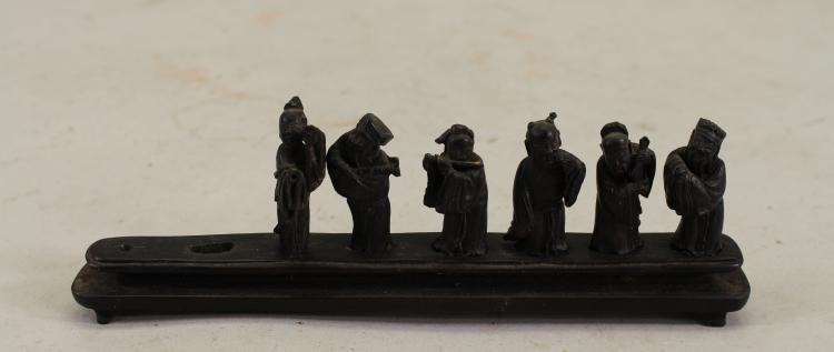 (6) ANTIQUE CARVED CHINESE FIGURES ON STAND