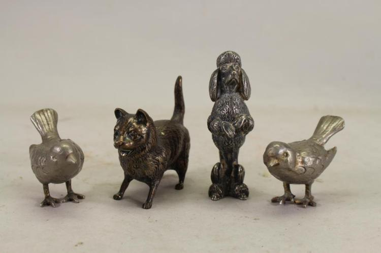 (4) SILVERED MIXED METAL ANIMAL ARTICLES