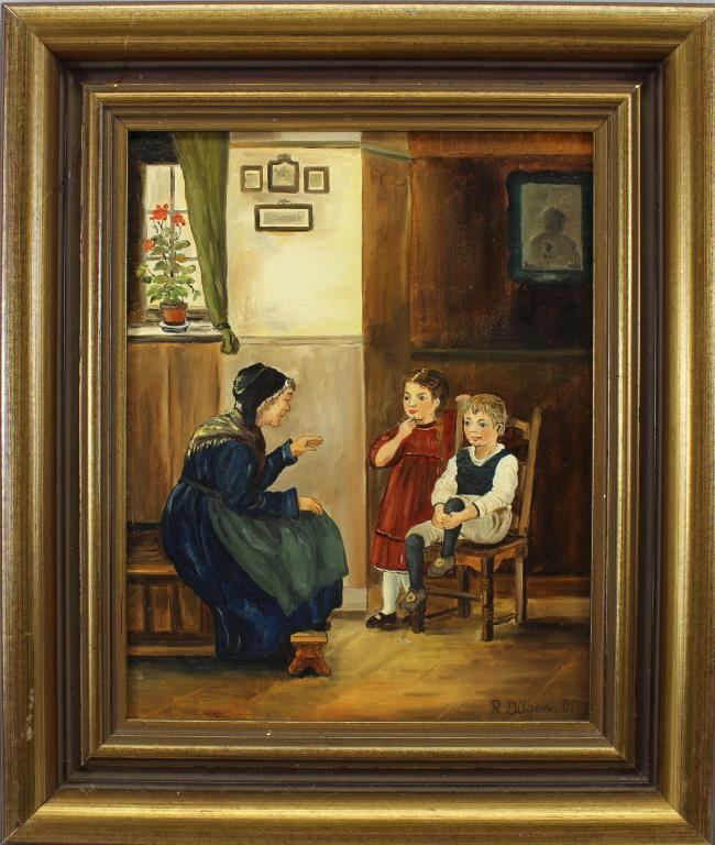 SIGNED, PAINTING OF MOTHER WITH GRANDCHILDREN