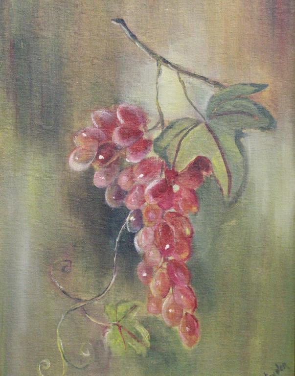 SIGNED, 20TH C. STILL LIFE PAINTING OF GRAPES