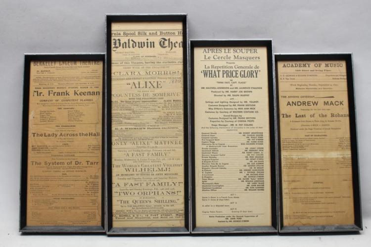 (4) ANTIQUE THEATER/MOVIE ADVERTISEMENTS