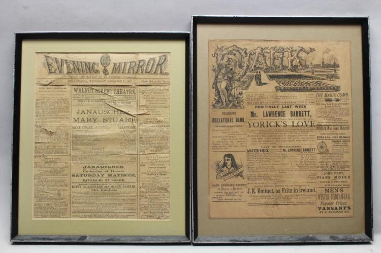 (2) Antique Theater/Movie Playbills