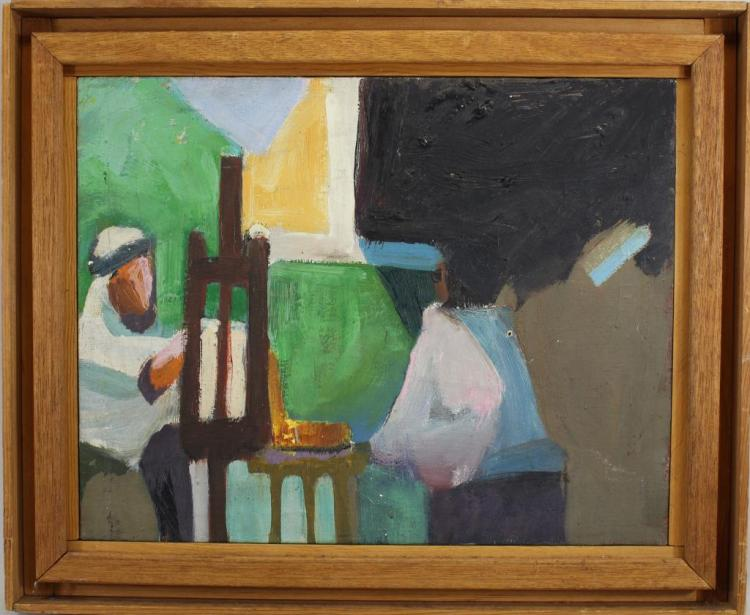 20TH C. PAINTING OF MIDDLE EASTERN MAN AT EASEL