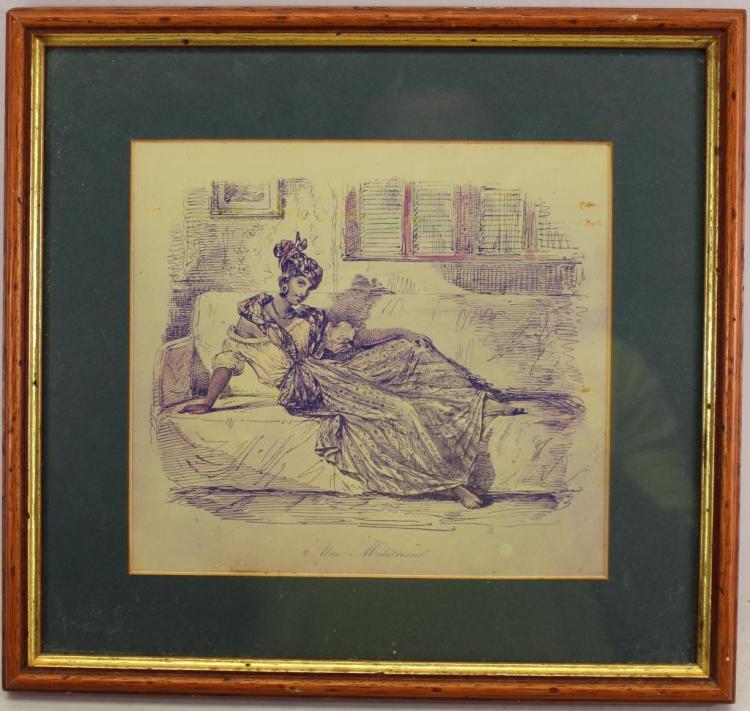 20TH C. PEN SKETCH OF A RECLINING ELEGANT WOMAN