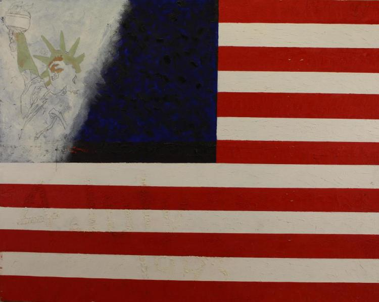 20TH C PAINTING OF AMERICAN FLAG/STATUE OF LIBERTY
