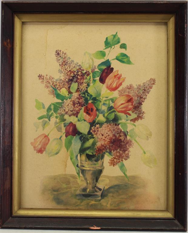 ANTIQUE FRAMED PRINT OF A BOUQUET OF FLOWERS