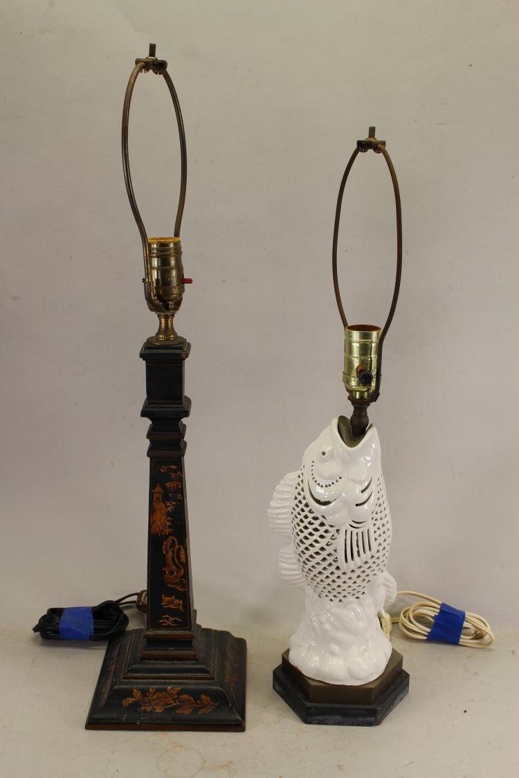 (2) Vintage Lamps, (Chinoiserie & Fish Form Lamp)