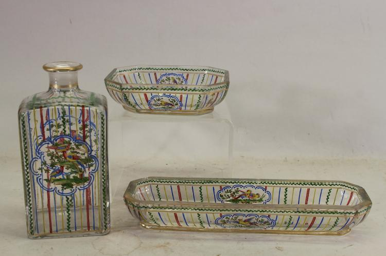 (3) Signed French Glass Articles