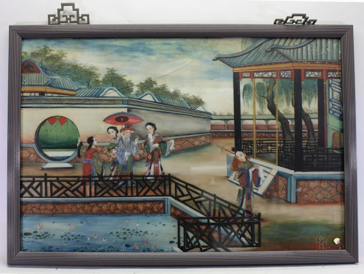 Chinese Reverse Painted Courtyard Scene (as is)