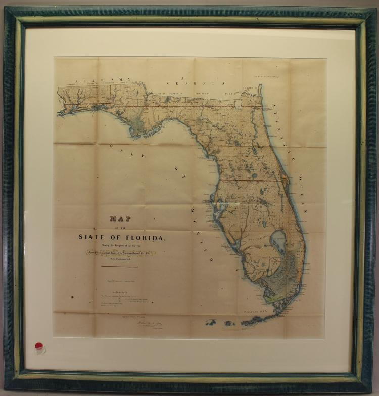 Large 19th C. Framed Map of Florida
