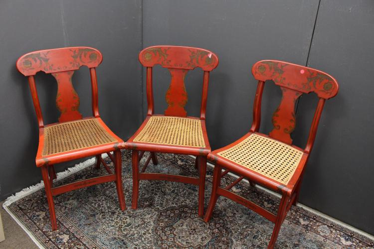 (3) Antique Red Lacquered/Gilt Chairs