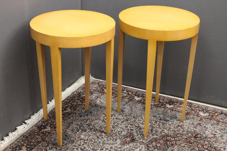 (2) Mid Century Modern Circular Side Tables