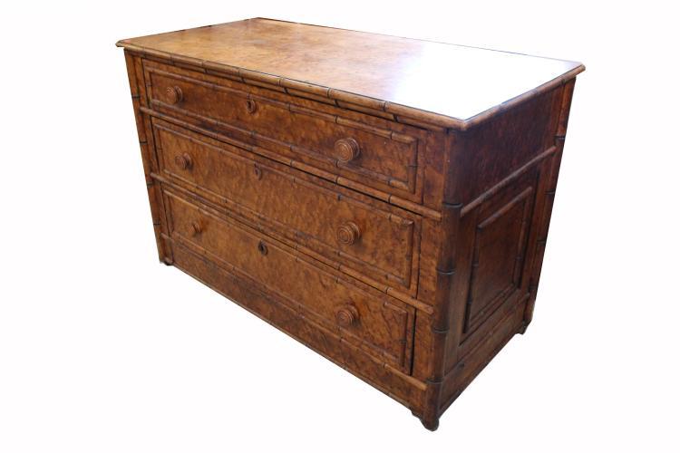 Burl Wood Veneered Chest of Drawers