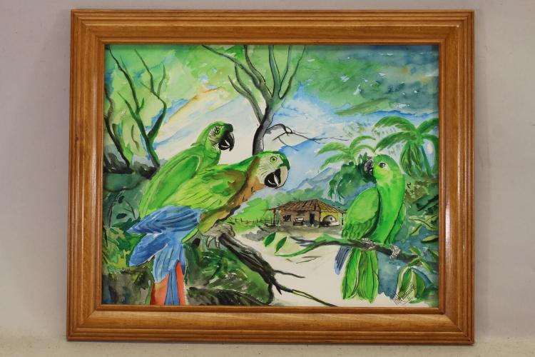 Signed, Tropical Landscape with Parrots