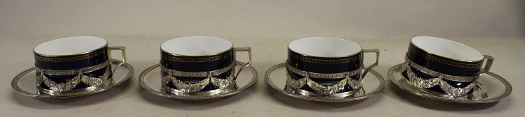 Signed, Austrian Silverplate/Porcelain Cups