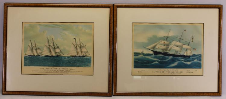 (2) Finely Framed Antique Nautical Prints