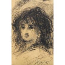 Antonio Mancini  (1852 - 1930) Charcoal/Paper