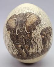 Ostrich Egg Scrimshaw w/ Elephants