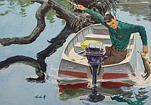 Thornton Utz (1914 - 1999) 'Man in Boat'