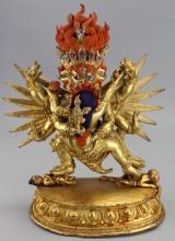 Antique Tibetan Gilt Bronze Yamataka Figure