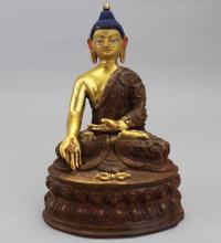 Antique Gilt Bronze Tibetan Seated Buddha