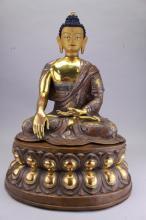 Large 19th C. Gilt Bronze Tibetan Seated Buddha