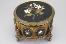 Guttin Gilt-Bronze and Pietra Dura Jewelry Box