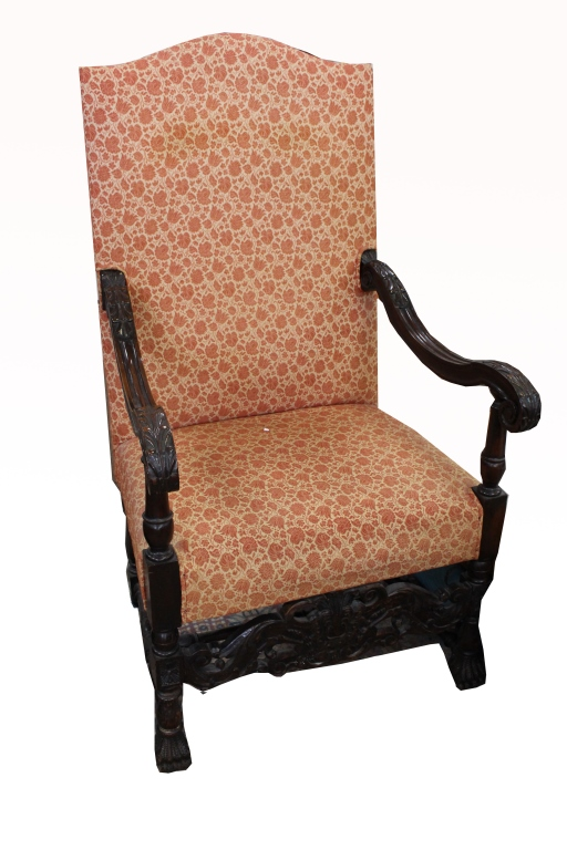 Antique carved continental upholstered armchair for Furniture auctions uk
