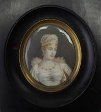 Signed Antique Portrait of Marie-Louise O'Murphy