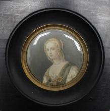 Antique Signed Miniature Portrait of a Woman