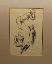 (3) Edward Laning (1906 - 1981) Nude Studies