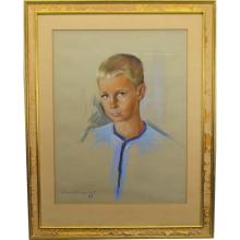 Signed Portrait of a Young Boy, Pastel