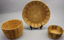 (3) Indian Hand Woven Baskets
