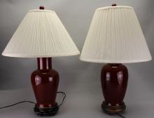Pair, Antique Chinese Oxblood  Baluster Vase/Lamps