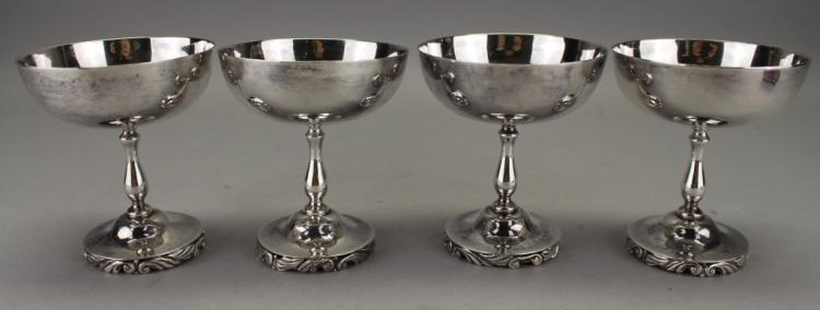 (4) Mexican Sterling Silver Sherbet Cups