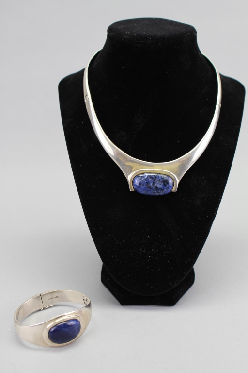 Signd .925 Sterling Silver/Lapis Necklace & Bangle