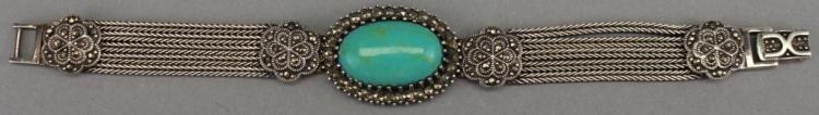 .925 Sterling Silver/ Turquoise Bracelet