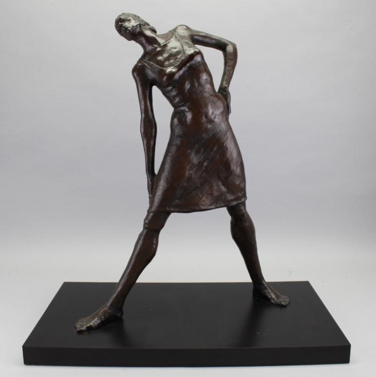 Signed 20th C. Bronze Female Figure on Base