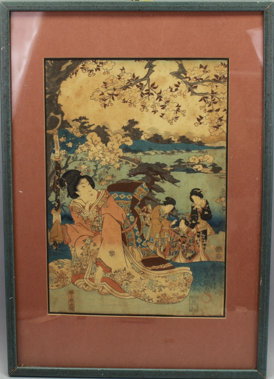 Antique Japanese Woodblock, Kunisada