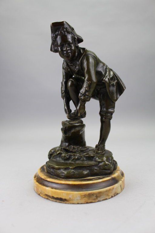 Antique Bronze Sculpture of Dutch Skater