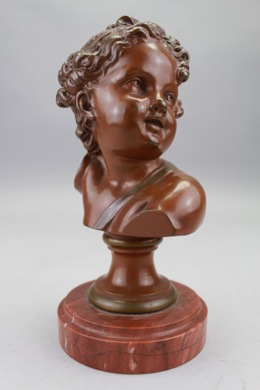 Antique Bronze Bust of Young Boy on Marble Base