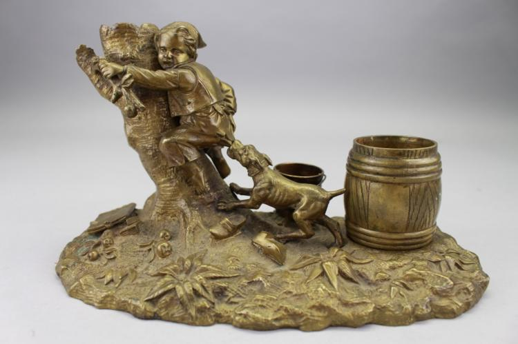 19th C. Bronze Inkwell, Dog Chasing Boy