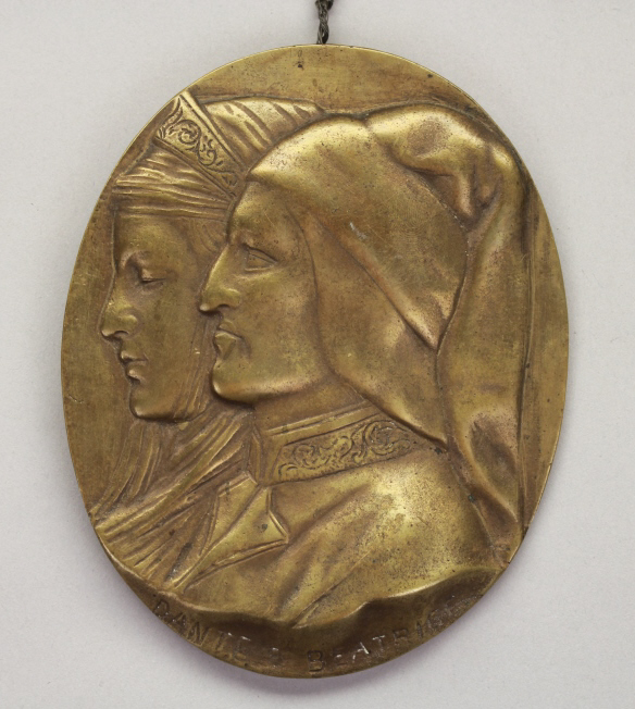 Antique Bronze Plaque of Dante &  Beatrice