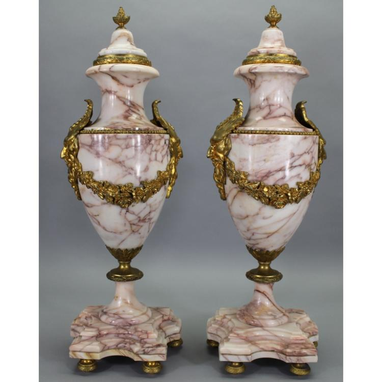 Exceptional Marble Urns w/ Gilt Bronze Mounts