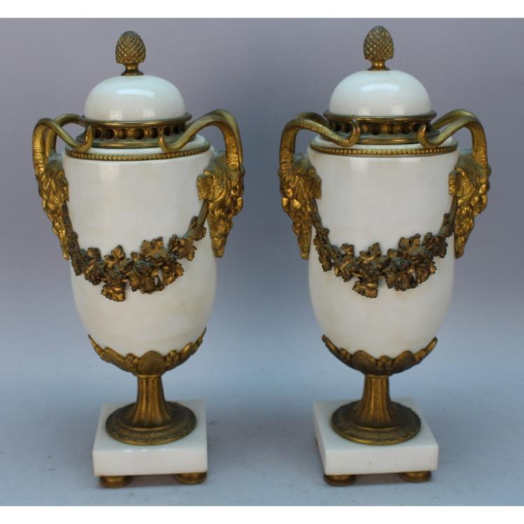 19th C. French Marble/Bronze Mounted Covered Urns