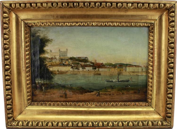 Signed 19th C. Hungarian School Harbor Painting
